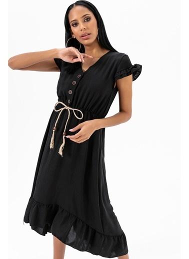 Emjey Eteği Kloş Uzun Elbise Siyah
